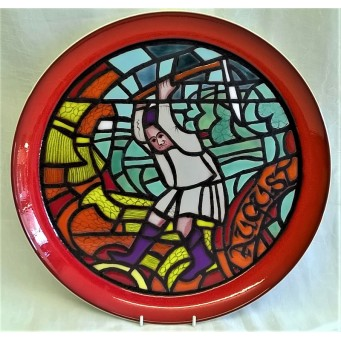 POOLE POTTERY STUDIO MEDIEVAL CALENDAR PLATE – AUGUST – Ltd Edition 525/1000